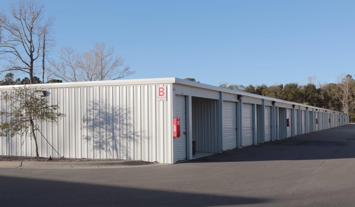 Exterior of outdoor units at Midgard Self Storage in Wilmington, North Carolina