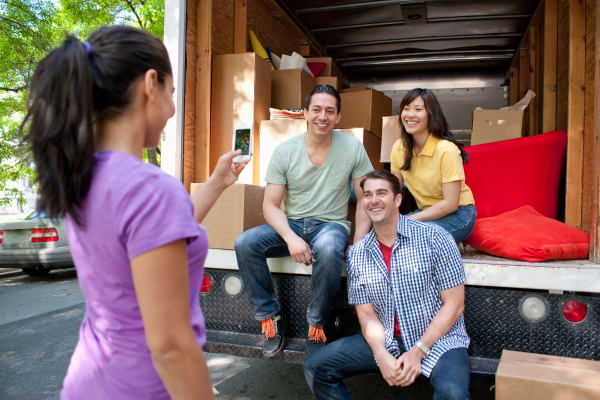 Family using a moving truck from Midgard Self Storage in Florence, Alabama