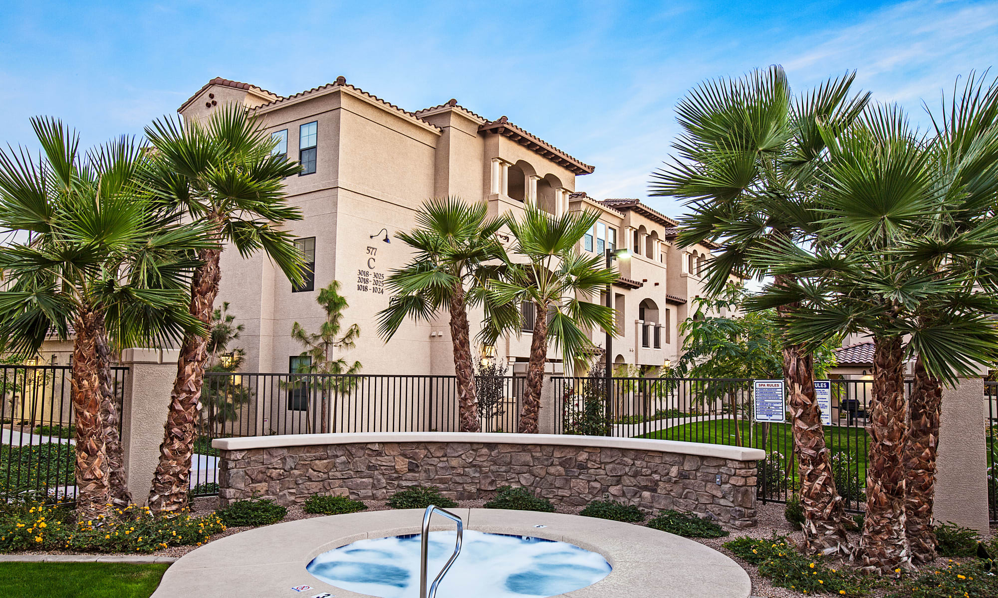 Resident services at San Marquis, beautifully landscaped with Palm Trees in Tempe, Arizona