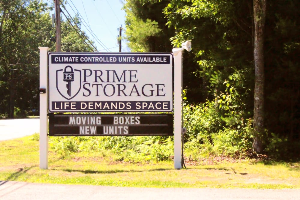 Sign at Prime Storage in Arundel, Maine