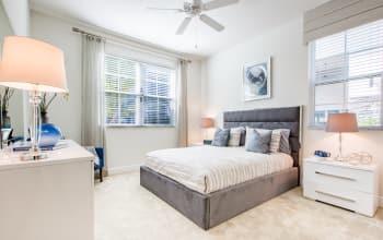 Model bedroom at Luma at Miramar in Miramar, Florida