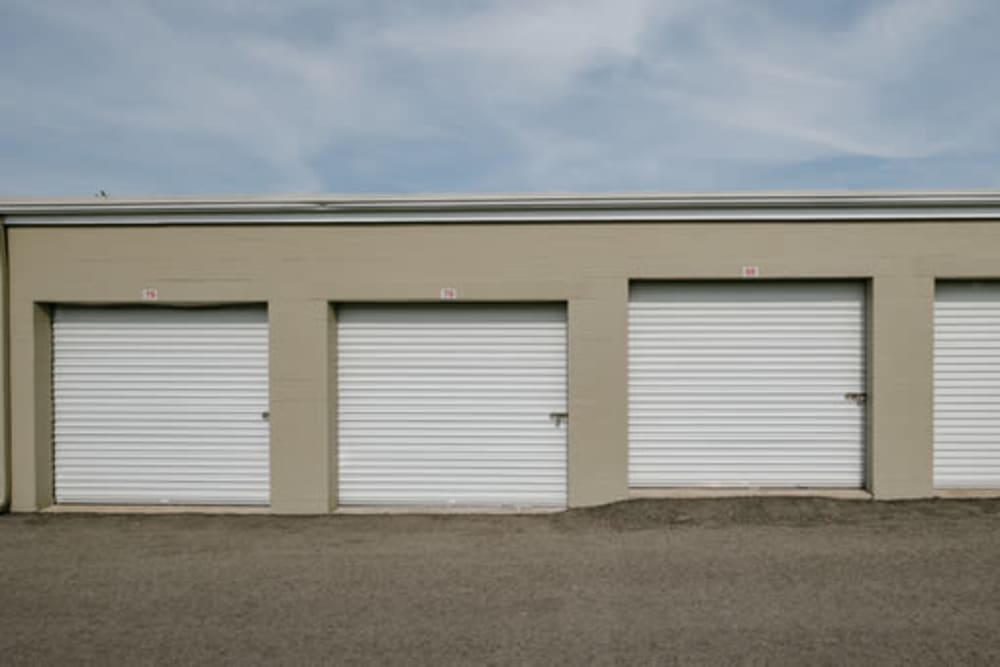 Garage style roll up doors on self storage units at StayLock Storage in Muncie, Indiana