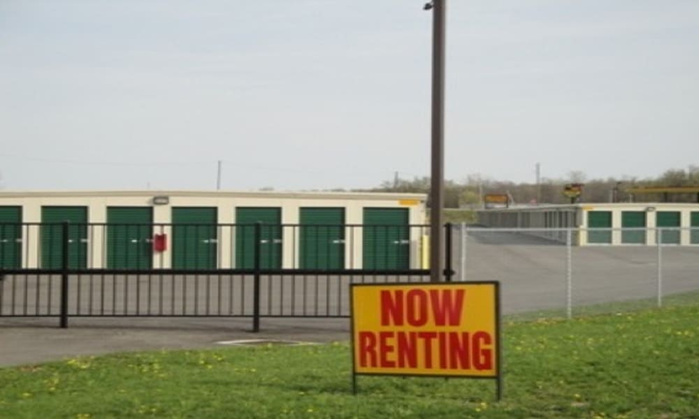 Storage units behind a now renting sign at Etna Storage in Pataskala, Ohio