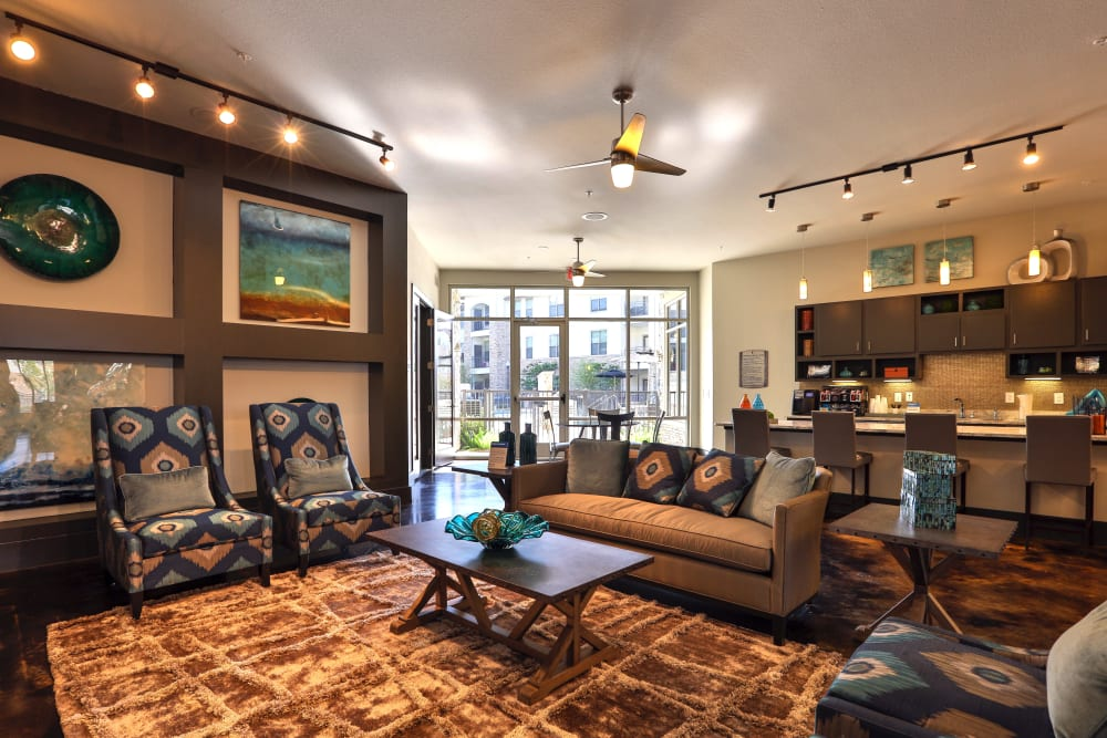 Resident lounge at Olympus at Waterside Estates in Richmond, Texas