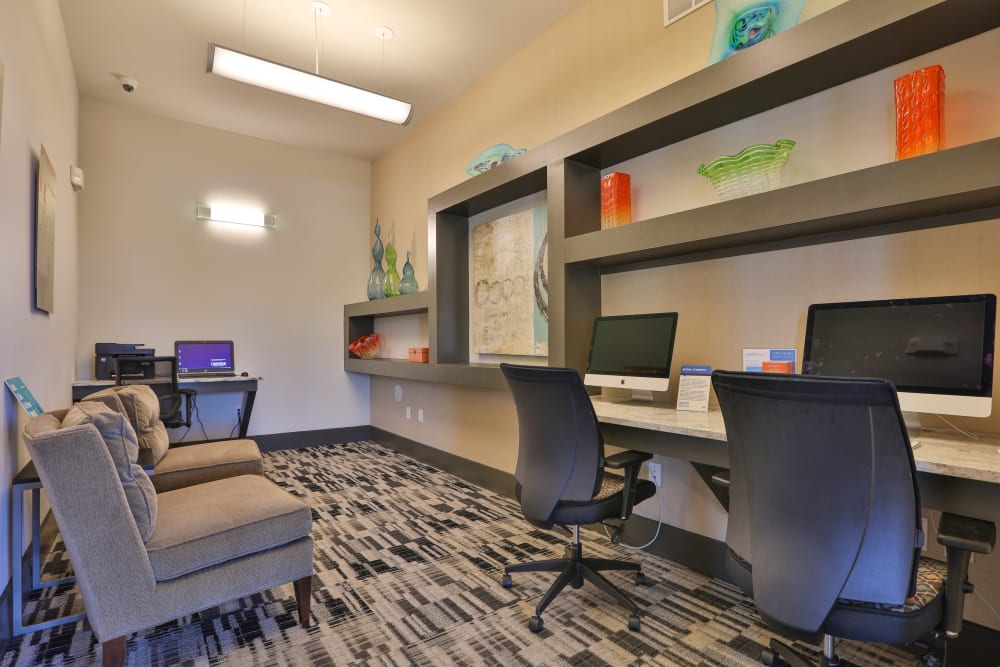 Business center at Olympus at Waterside Estates in Richmond, Texas