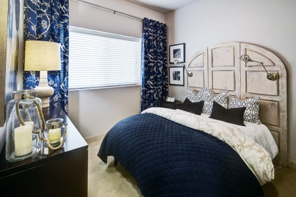 Bedroom with modern decor at Clearwater at South Bay in Torrance, California