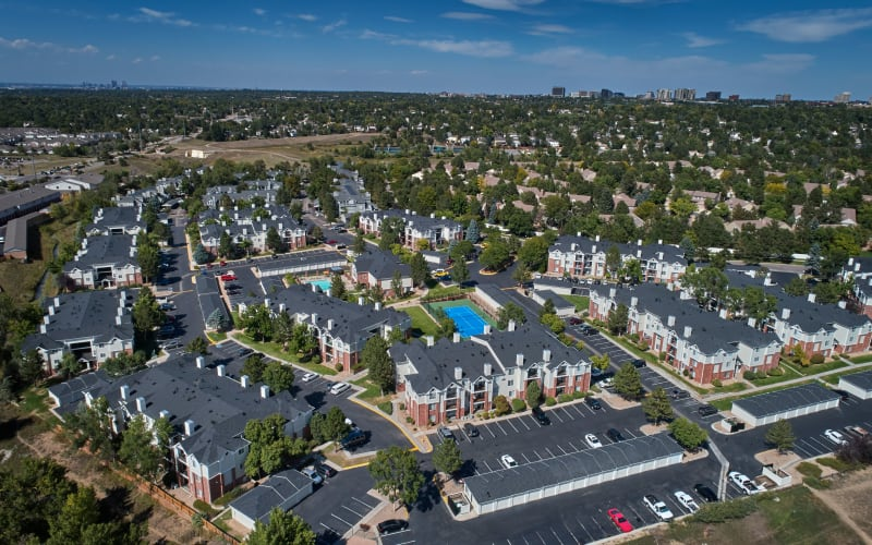 Aerial view of the property at Villas at Homestead Apartments in Englewood, Colorado