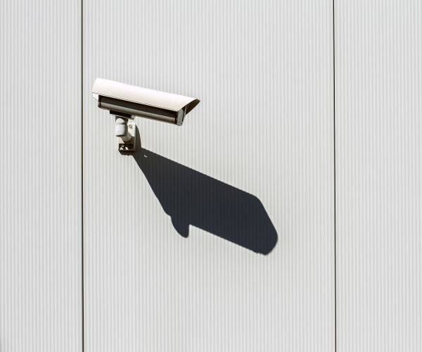 A security camera on a wall at 21st Century Storage in Ocean Township, New Jersey
