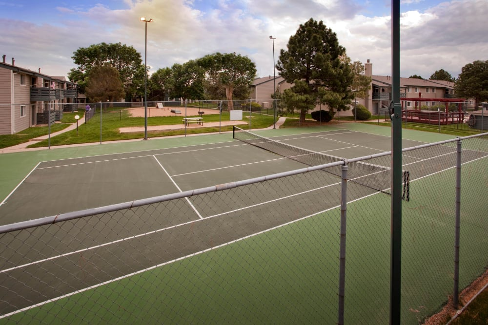 Community tennis court at Hampden Heights Apartments in Denver, Colorado