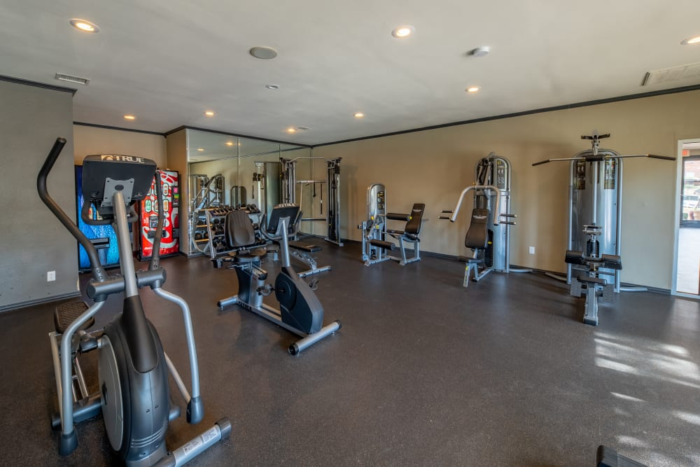 Well equipped fitness center at Trails of Towne Lake in Irving, Texas
