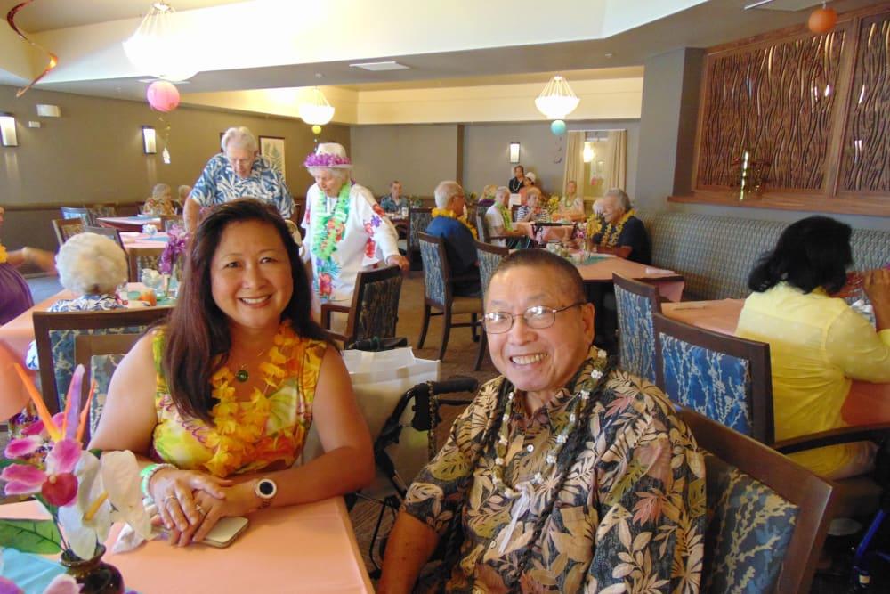 Luau party at Merrill Gardens at Oceanside in Oceanside, California.