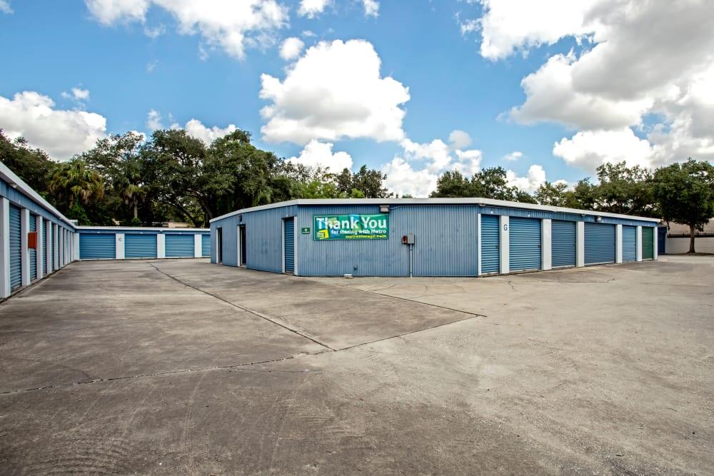 Exterior drive up units at Metro Self Storage in Tampa, Florida