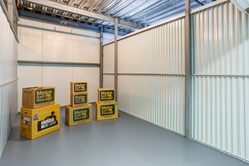 Unit interior with packages at Metro Self Storage in Tampa, Florida