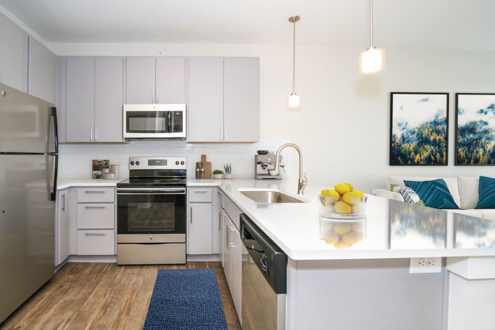 Model kitchen at 300 Optimist Park in Charlotte, North Carolina