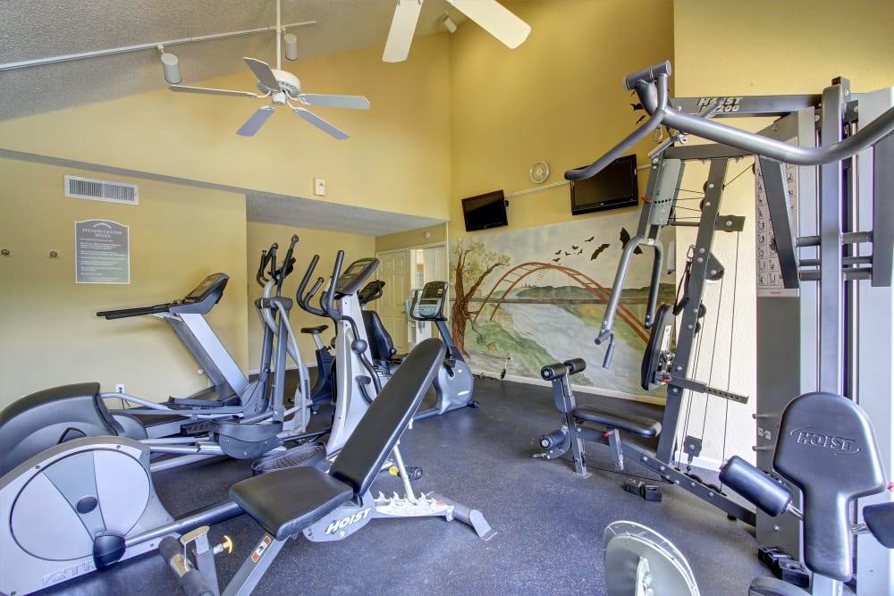 Modern fitness center at Bridge at Northwest Hills in Austin, Texas