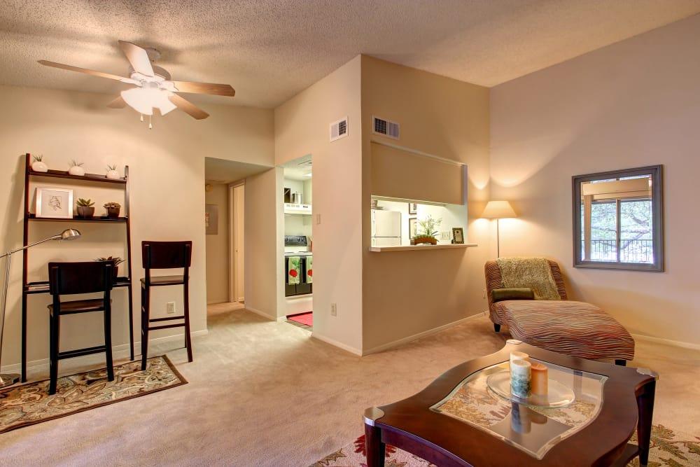 Model living room at Bridge at Northwest Hills in Austin, Texas