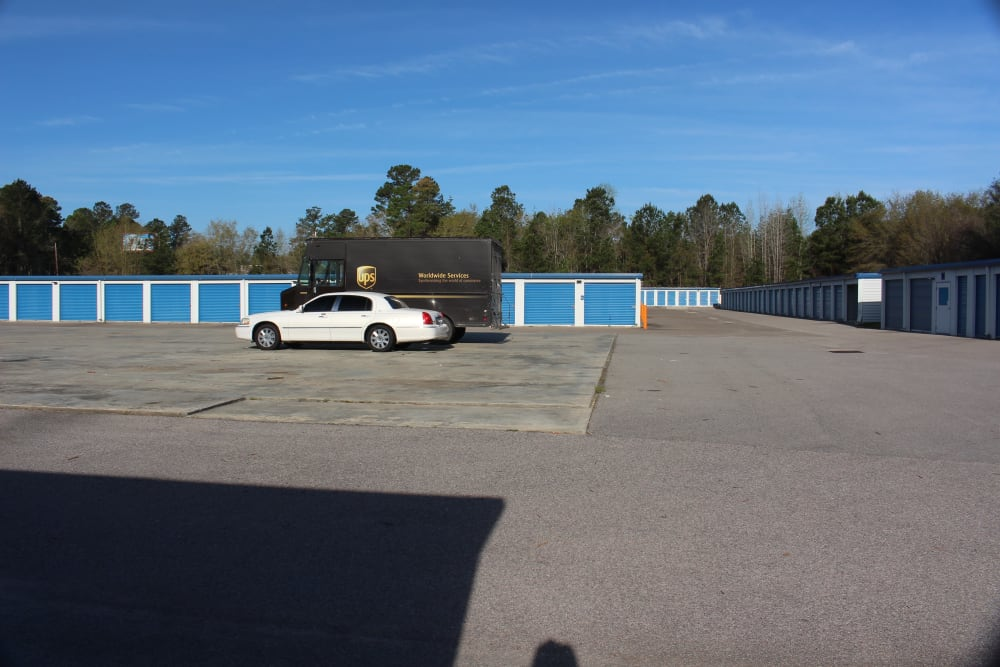 Parking lot at Monster Self Storage in Walterboro, South Carolina