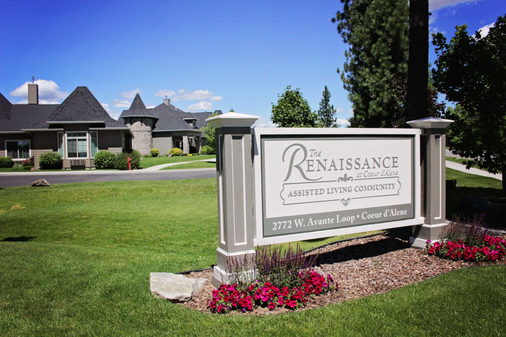 Welcome sign at The Renaissance at Coeur d'Alene in Coeur d'Alene, Idaho
