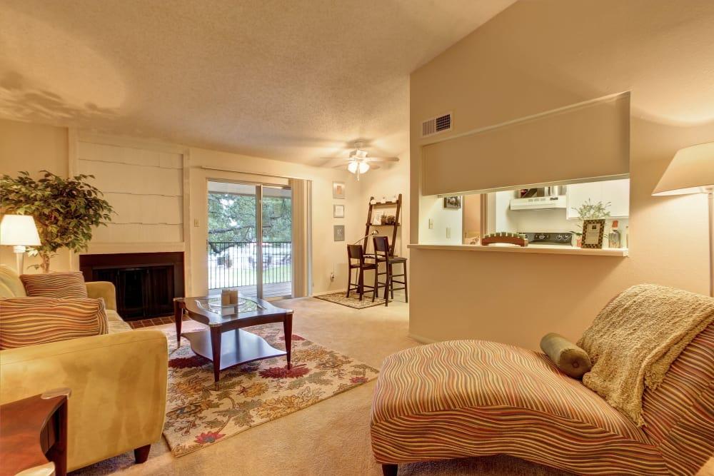 Beautiful living room at Bridge at Northwest Hills in Austin, Texas