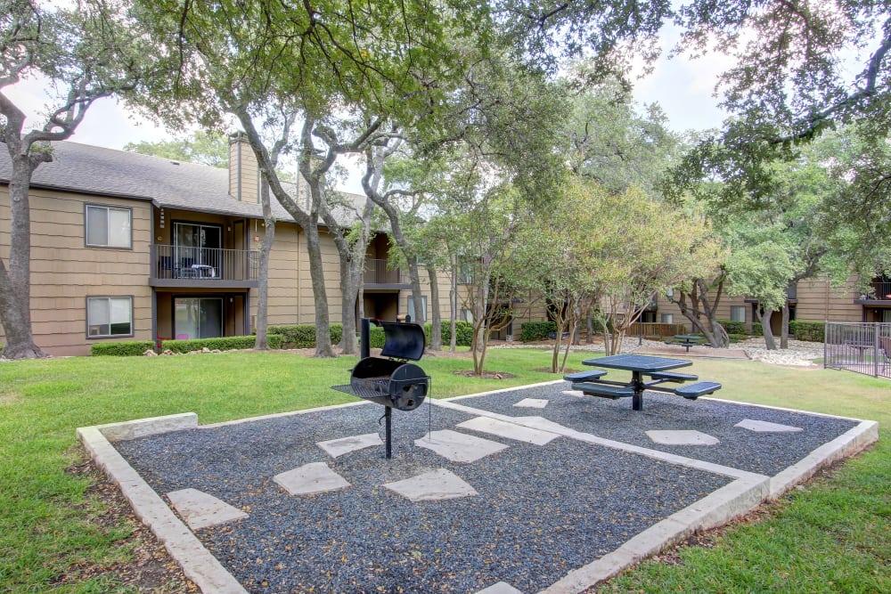 BBQ area at Bridge at Northwest Hills in Austin, Texas