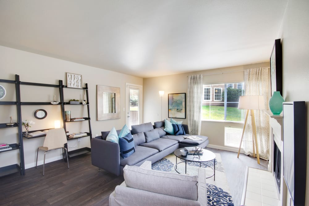 Beautiful spacious model living room at The Carriages at Fairwood Downs in Renton, Washington