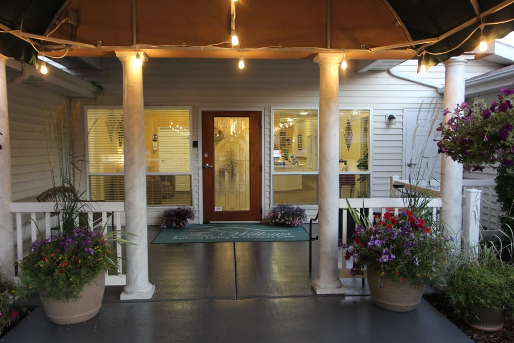 Brightly lit front entrance at The Willows Retirement & Assisted Living in Blackfoot, Idaho