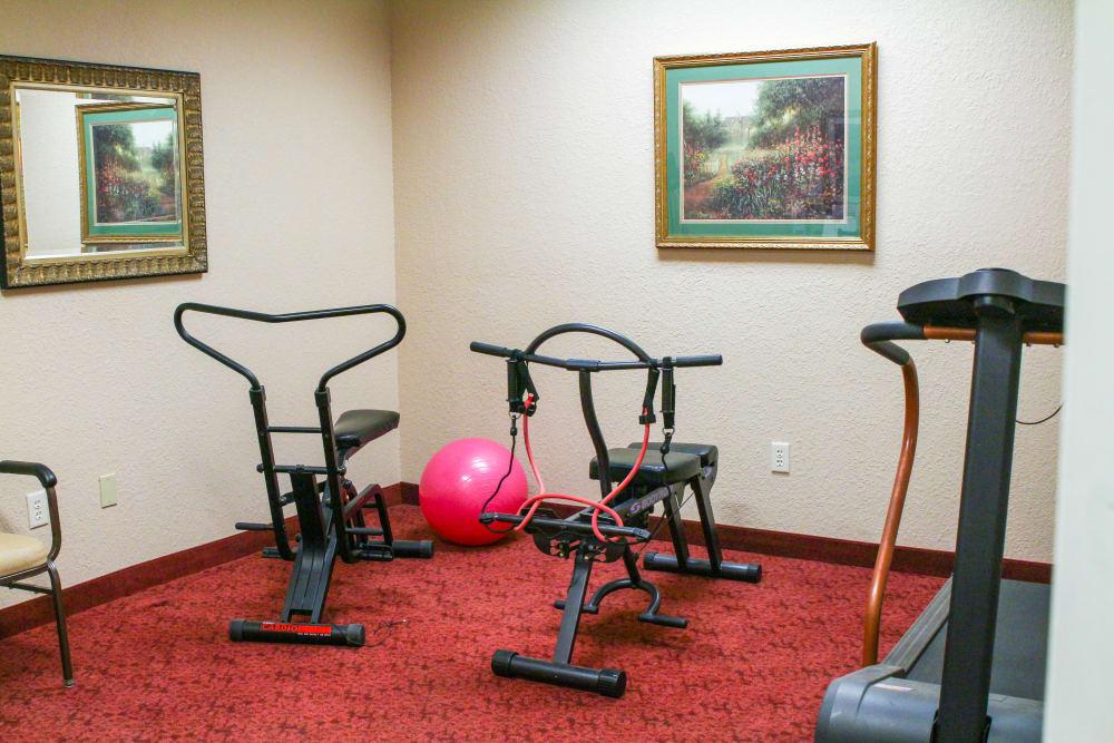 A fitness room at Lionwood in Oklahoma City, Oklahoma.