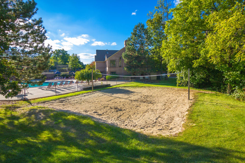Sand volleyball court at Saddle Creek Apartments in Novi, Michigan