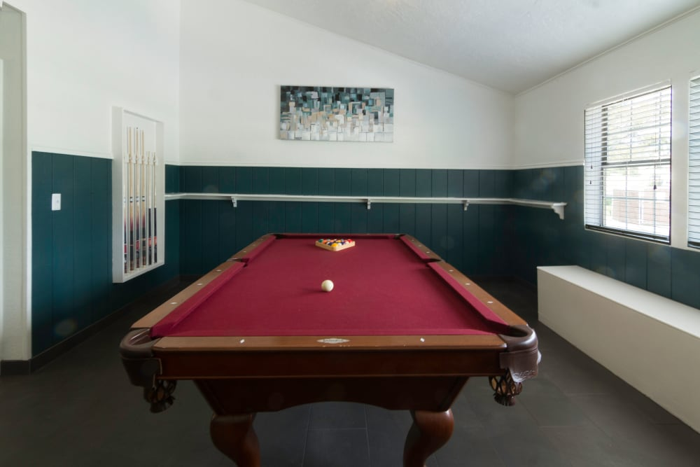 A pool table at Callaway Apartments in Taylorsville, Utah