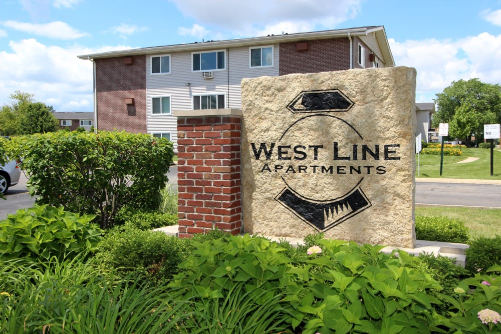 The monument sign at West Line Apartments in Hanover Park, Illinois
