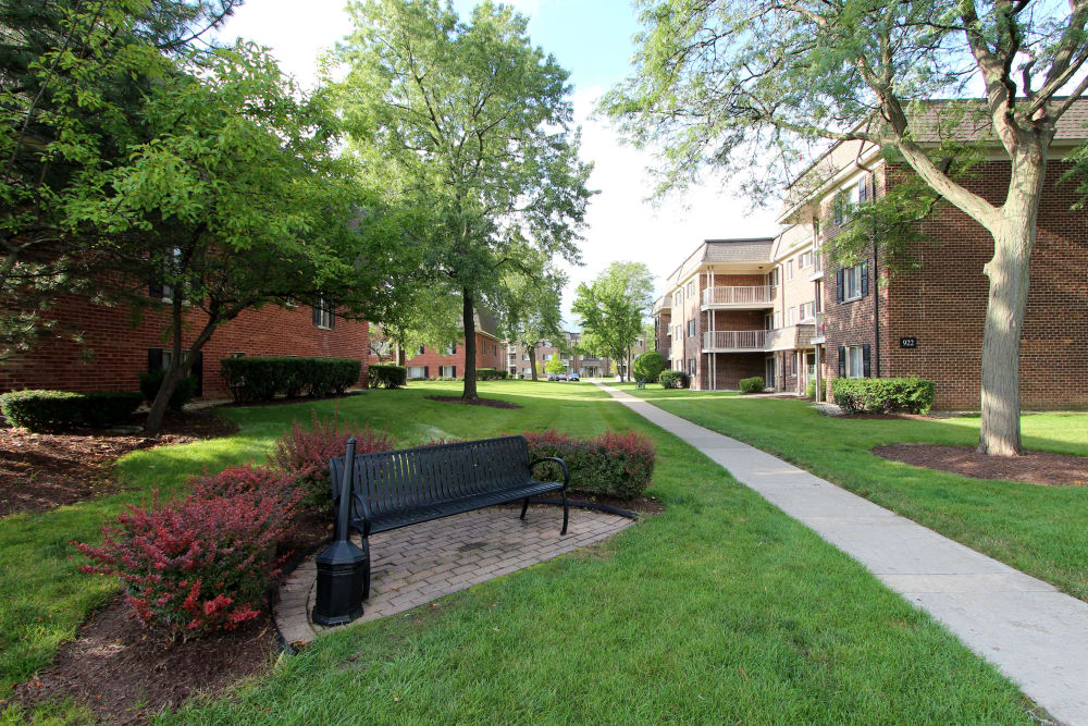 Beautiful gardens at Cypress Place in Elk Grove Village, Illinois