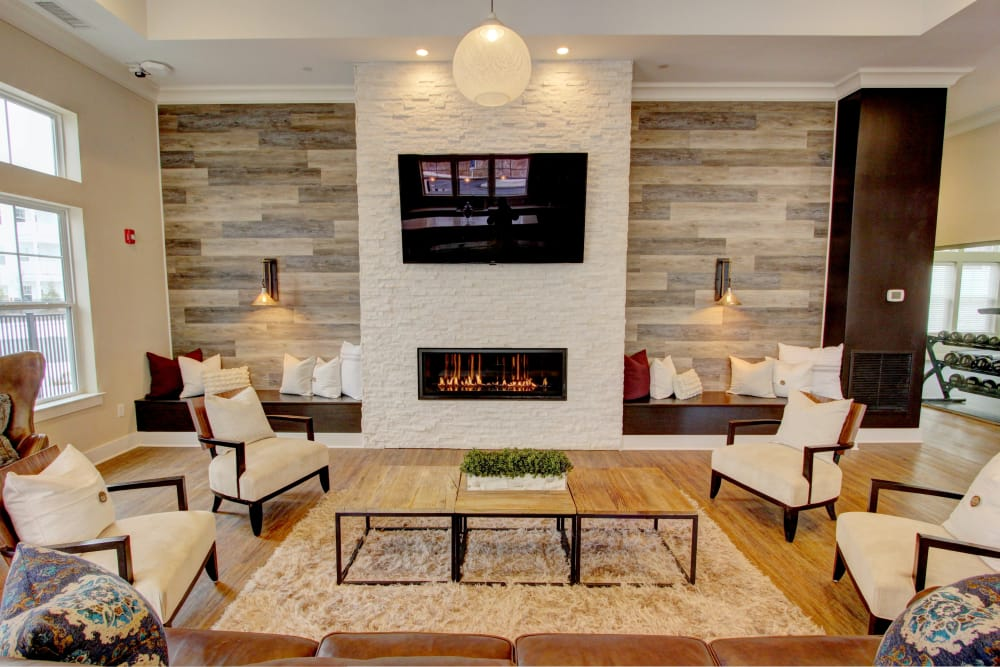 Modern club house at The Pointe at Dorset Crossing in Simsbury, Connecticut