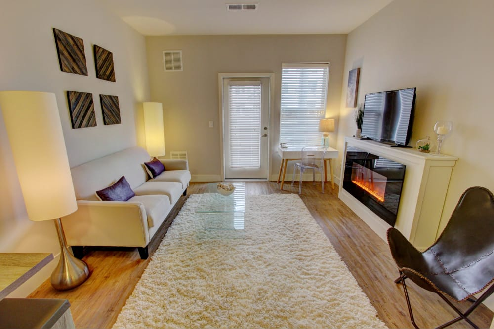Spacious living room at The Pointe at Dorset Crossing in Simsbury, Connecticut