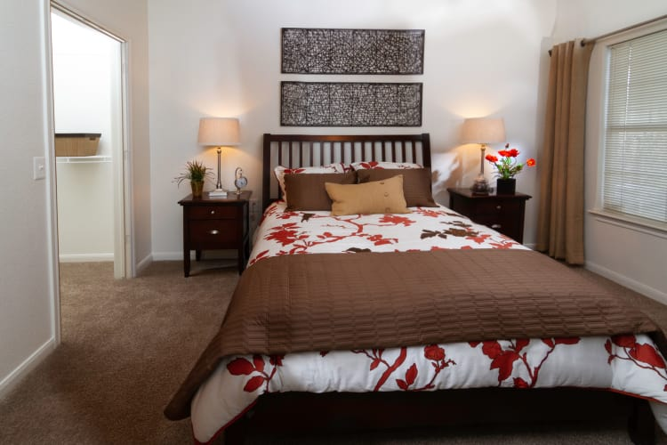 Master bedroom layout at Alpine Meadows Apartments in Sandy, Utah