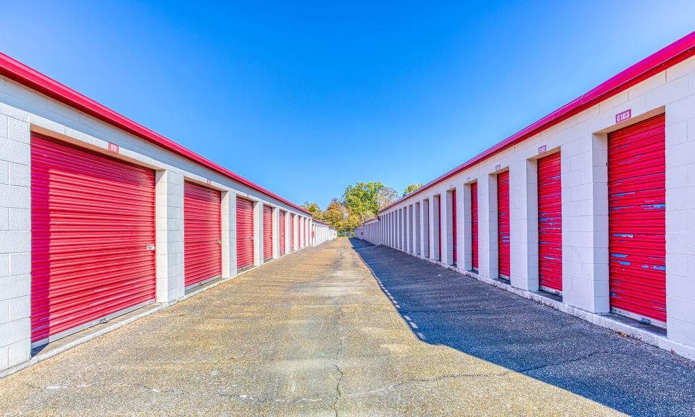 Driveway through storage units at Devon Self Storage in Memphis, Tennessee