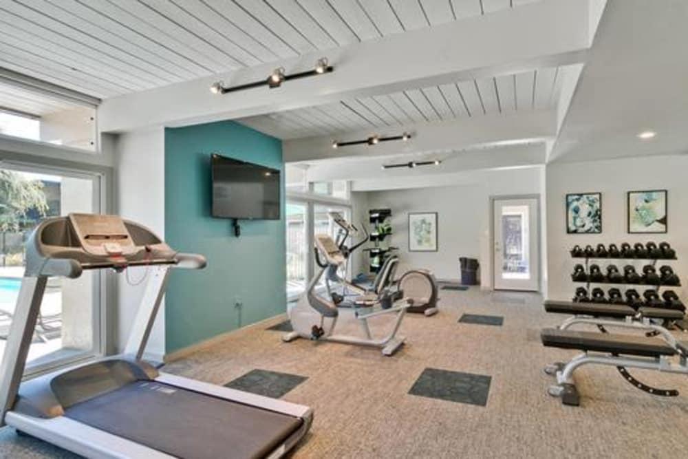 Modern fitness center at Mosaic Hayward in Hayward, California