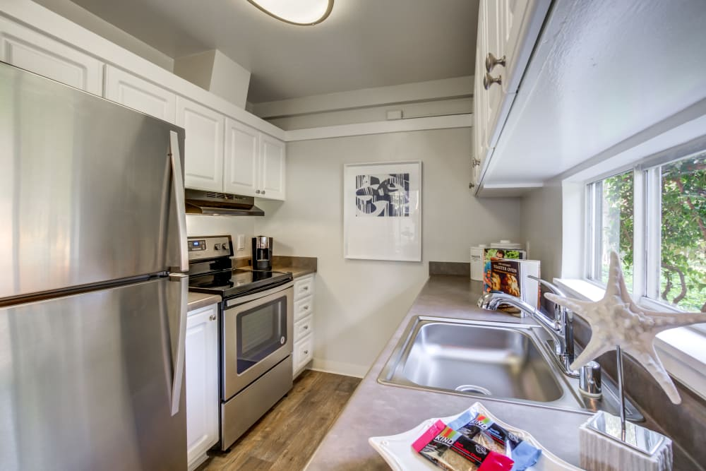 Spacious kitchen at apartments in Fremont, California