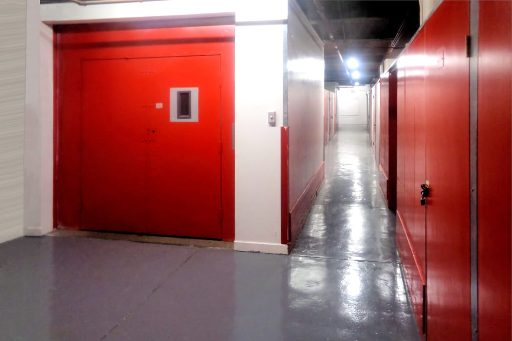 Clean hallway at Prime Storage in Boston, Massachusetts