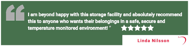 Five star review of Apple Self Storage - Waterloo in Waterloo, Ontario, from Linda