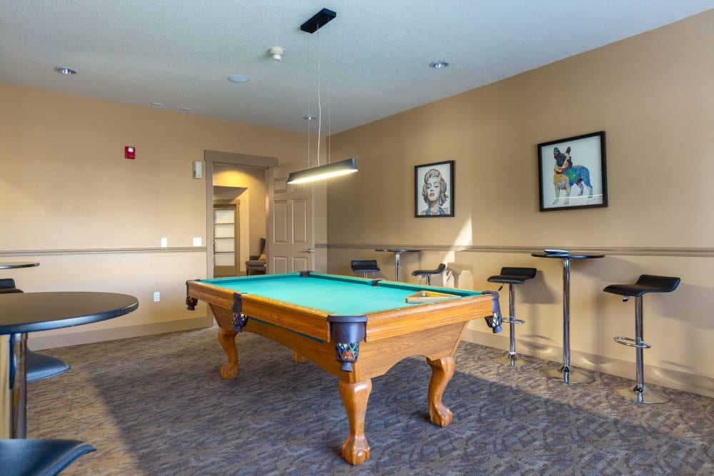 Clubhouse amenities include a pool table at The Landings at Morrison Apartments in Gresham, Oregon