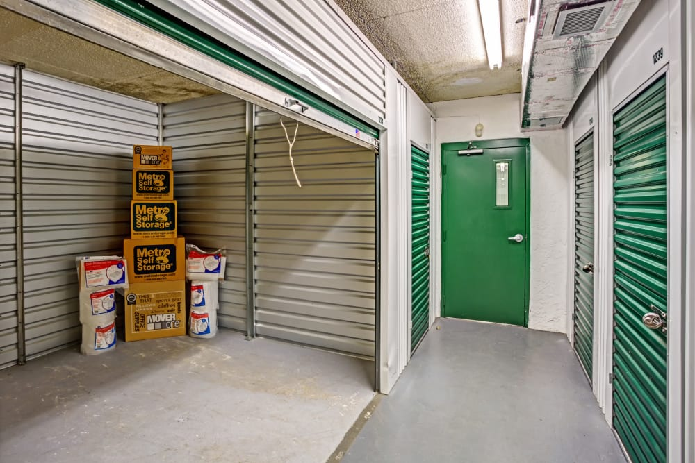 Open unit with packages at Metro Self Storage in Largo, Florida