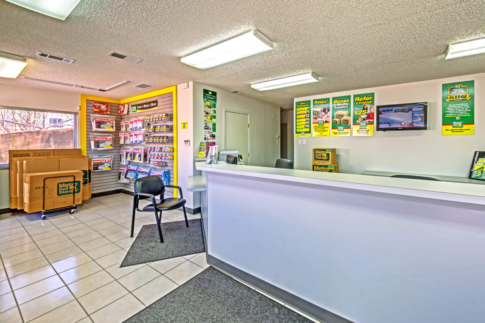 Office reception at Metro Self Storage in Euless, Texas
