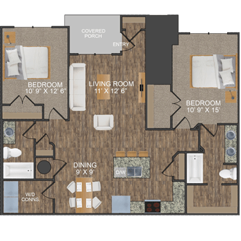 Loden I floor plan at Callio Properties in Chattanooga, Tennessee