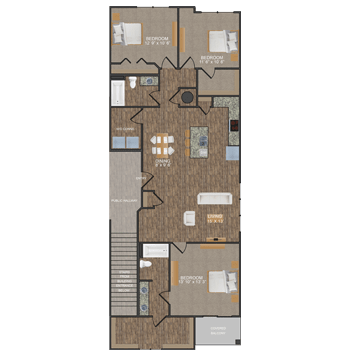 Veridian floor plan at Callio Properties in Chattanooga, Tennessee