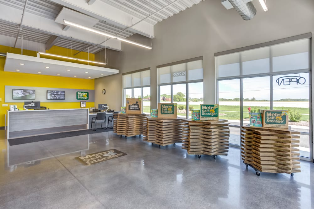 Leasing office offering storage supplies such as boxes and tape at Metro Self Storage in St. Charles