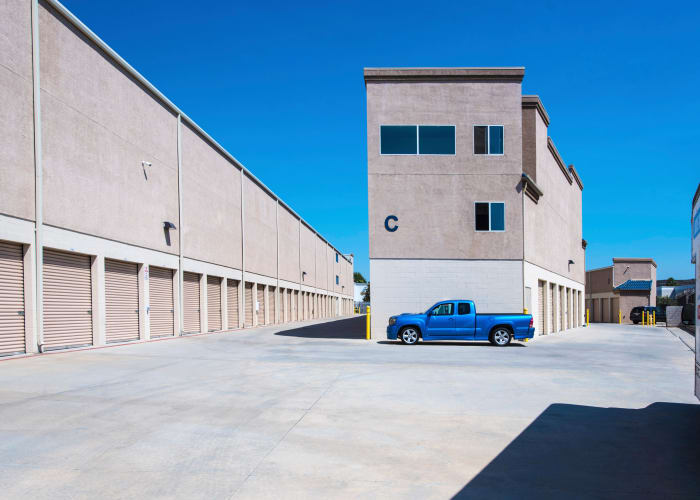 A driveway between storage units at Jamacha Point Self Storage in Spring Valley, California
