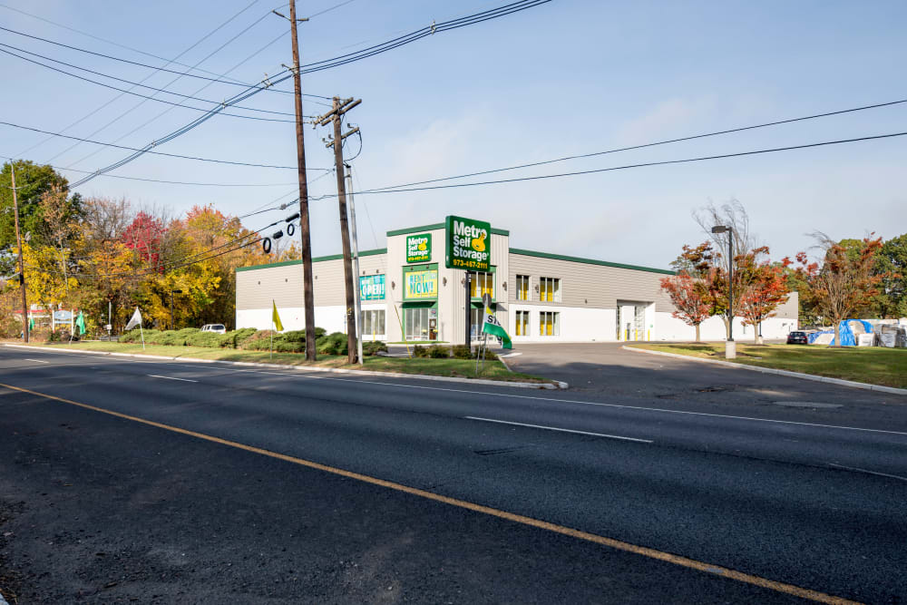 Exterior view from street of Metro Self Storage in Springfield, New Jersey