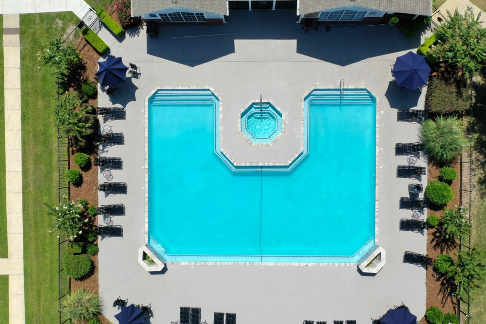 Aerial view of the beautiful pool at The Grove in Biloxi, Mississippi