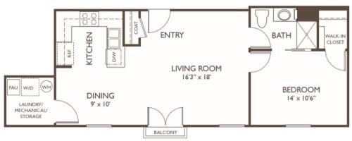 Independent Living one bedroom II at Hillcrest of Loveland in Loveland, Colorado