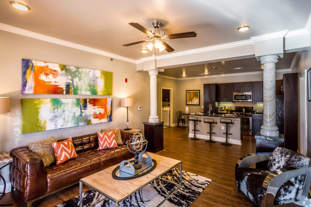 Model living room at Arlo Luxury Apartment Homes in Little Rock, Arkansas